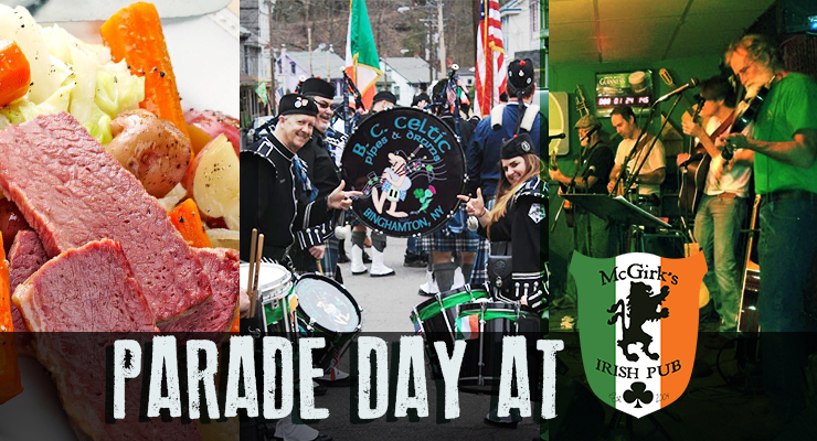 collage of corned beef dinner, bagpipers and musicians at McGirk's irish Pub on Binghamton's parade day